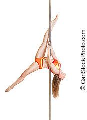 Slim sexy pole dance woman upside down
