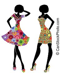 Slim stylish women in short ornate colourful dresses