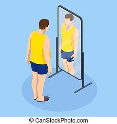 slim., voit, excès, poids, regarde, graisse, obesity., ...