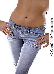 woman wearing blue jeans, body shot of stomach