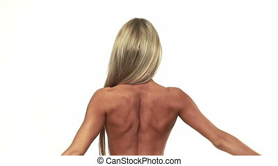 Slim woman back - Woman showing her nice back muscles