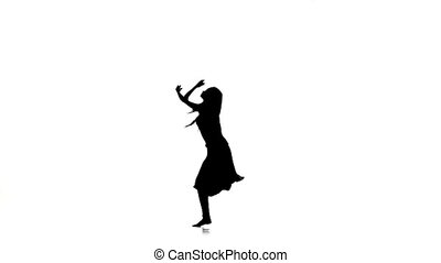 Slim woman dancer dancing contemporary dance, jumps and makes split, on white, silhouette, slow motion