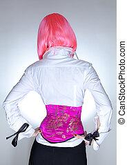 Slim woman dressed in oriental corset