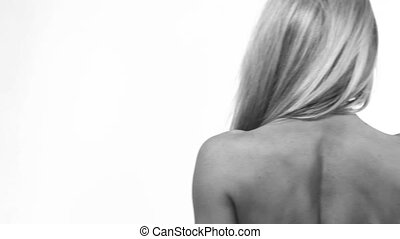 Slim woman from back - Woman showing her nice back. Black...