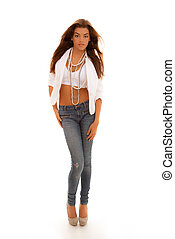 slim woman in jeans