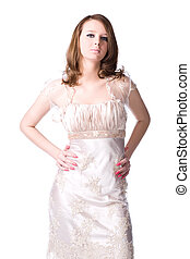 Slim woman in silver dress