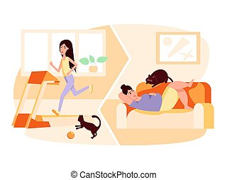 Slim woman running on treadmill. Fat woman with cat lying on sofa. Obesity. Healthy and unhealthy lifestyle. Sport vs fastfood. Vector flat color illustration. Concept for overweight