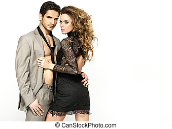 Slim woman wearing nice dress and her stylish boyfriend - ...