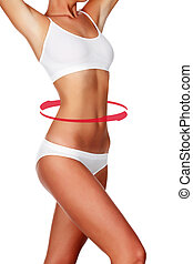 Slim woman's body with red arrows around the waist, isolated on white background