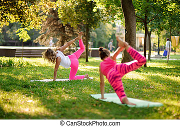 Slim women doing yoga exercises on the grass in a park