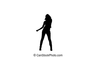 Slim, young girl dancer dancing sexy-jazz on white background, slow motion, silhouette