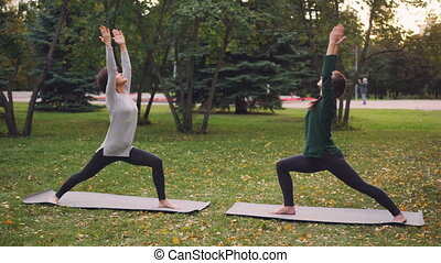 Slim young ladies are training outdoors in park doing hatha...