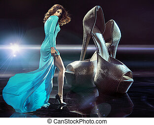 Slim young lady addicted to luxury shoes - Slim young lady...