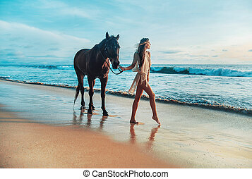 Slim young lady walking with a horse pet