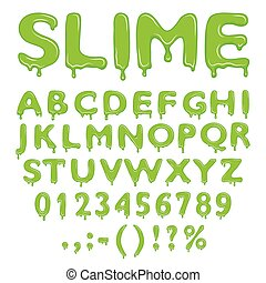 Slime alphabet, numbers and symbols isolated on white background