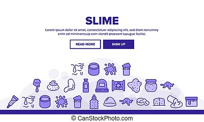 Slime Mucus Liquid Landing Web Page Header Banner Template Vector. Slime In Bottle And Container, Tube And Package, Dripping And Splash, Slimy Blob Illustrations