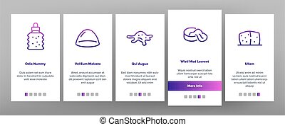 Slime Mucus Liquid Onboarding Mobile App Page Screen Vector. Slime In Bottle And Container, Tube And Package, Dripping And Splash, Slimy Blob Illustrations
