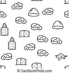Slime Mucus Liquid Vector Seamless Pattern Thin Line Illustration