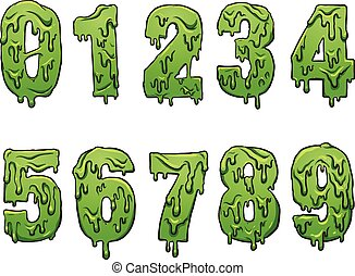 Slime cartoon numbers. Vector clip art illustration with simple gradients. Each on a separate layer.