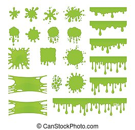 Slime vector set. Blots, splashes and smudges. Green liquid.