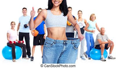 slimming, grande, llevando, mujer, pants.