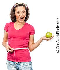 slimming, meisje, groene appel, mooi