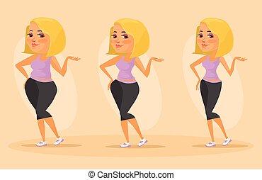 Slimming stages. Vector flat illustration