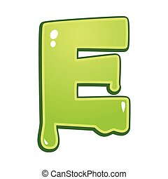 Slimy font type letter E