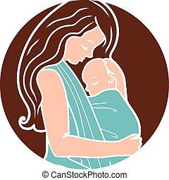 sling., 単純である, 抱き合う, ラウンド, babywearing, ベクトル, 母, 赤ん坊, ロゴ, lineart, style.