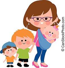 sling., vandrande, illustration., henne, vektor, mor, baby, barn