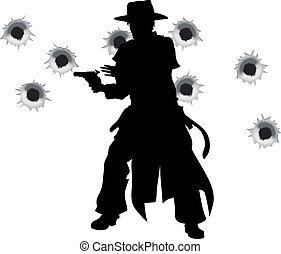 slinger de arma de fuego, occidental, tiroteo