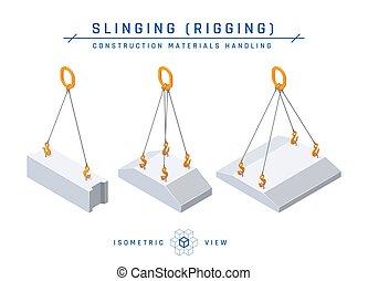 slinging, konkretny, styl, wektor, kloc, isometric