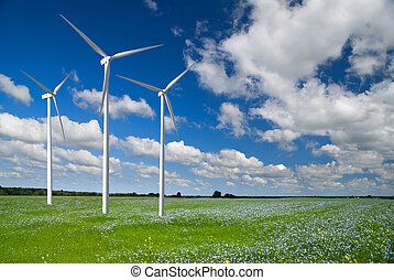 slingra generator, turbin, på, fjäder, landskap