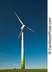 slingra turbin, -, alternativ, och, grön, energi upphov