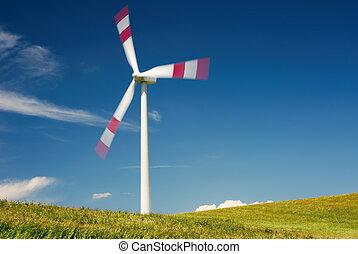slingra turbin, in, sommar