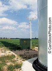 slingra turbin, transformator, och, grund, av, torn