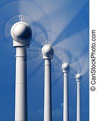 slingra turbiner, i rörelse, från, den, främre del