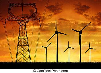slingra turbiner, med, kraftledning