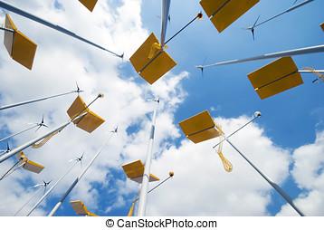 slingra turbiner, och, sol, paneler