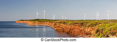 slingra turbiner, på, atlanten kust