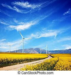 slingra turbiner, på, fjäder, field., alternativ, ren, och,...