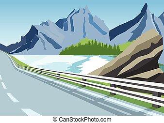 slingrig road, in, mountains, längs, den, hav, eller, ocean