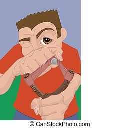 slingshot illustration - a boy with a slingshot