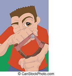 slingshot illustration - a boy with a slingshot