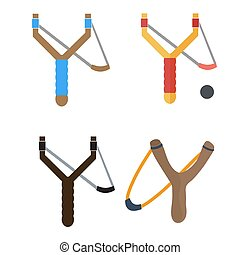 Slingshot isolated on white photo-realistic vector illustration