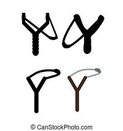slingshot, vrijstaand, op wit, photo-realistic, vector, illustratie