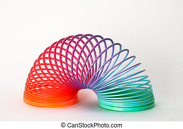 Spring toy isolated on a white background with a shadow.