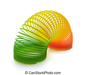 Slinky spring toy - Plastic  spring toy isolated on white