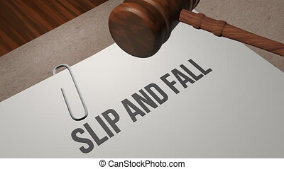 Slip and Fall lawsuit legal concept shot clip