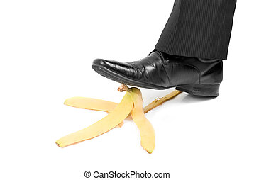 slip banana - Business boot to step on a banana skin on a...